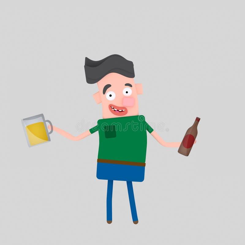 Muchacho joven que sostiene la botella y el vidrio de cerveza 3d stock de ilustración