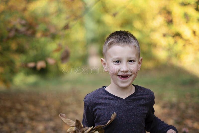Muchacho joven sonriente sin los dientes delanteros que juegan con las hojas foto de archivo