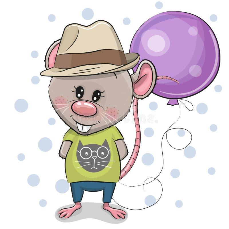 Muchacho lindo de la rata de la historieta con el globo ilustración del vector