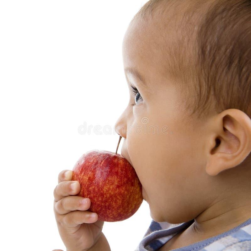 Muchacho lindo que come una manzana foto de archivo
