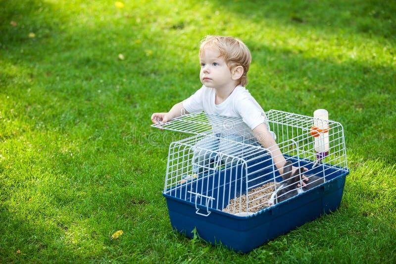 Muchacho lindo que frota ligeramente un conejo del animal doméstico en una jaula imagen de archivo