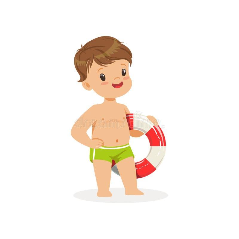 Muchacho lindo que se coloca con el salvavidas, ejemplo colorido del vector del carácter de las vacaciones de verano de los niños libre illustration