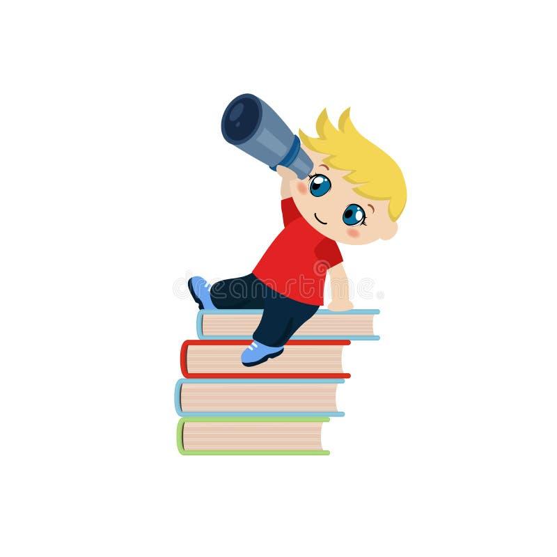 Muchacho lindo que se sienta en una pila de libros y que mira a través del telescopio libre illustration