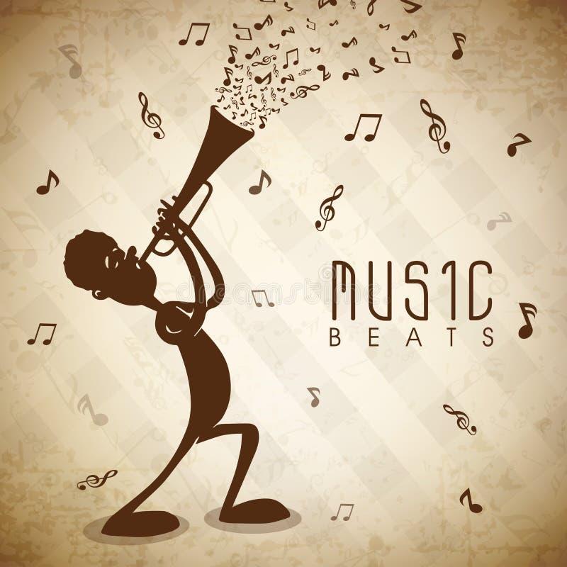 Muchacho lindo que toca la trompeta para el concepto de la música ilustración del vector