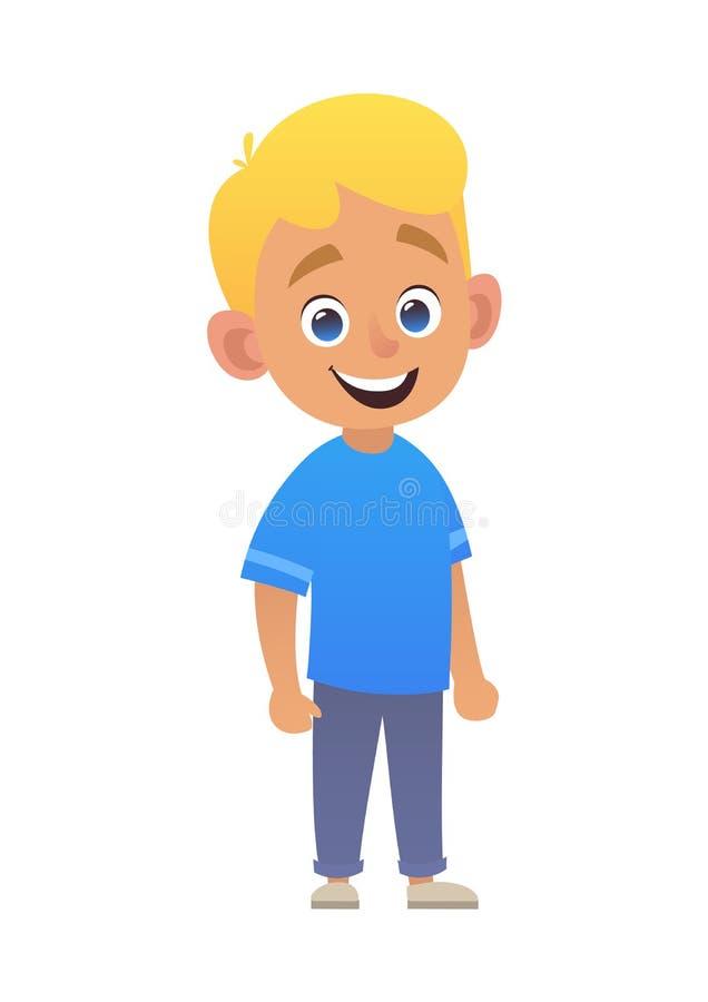 Muchacho lindo sonriente rubio en camisa azul libre illustration