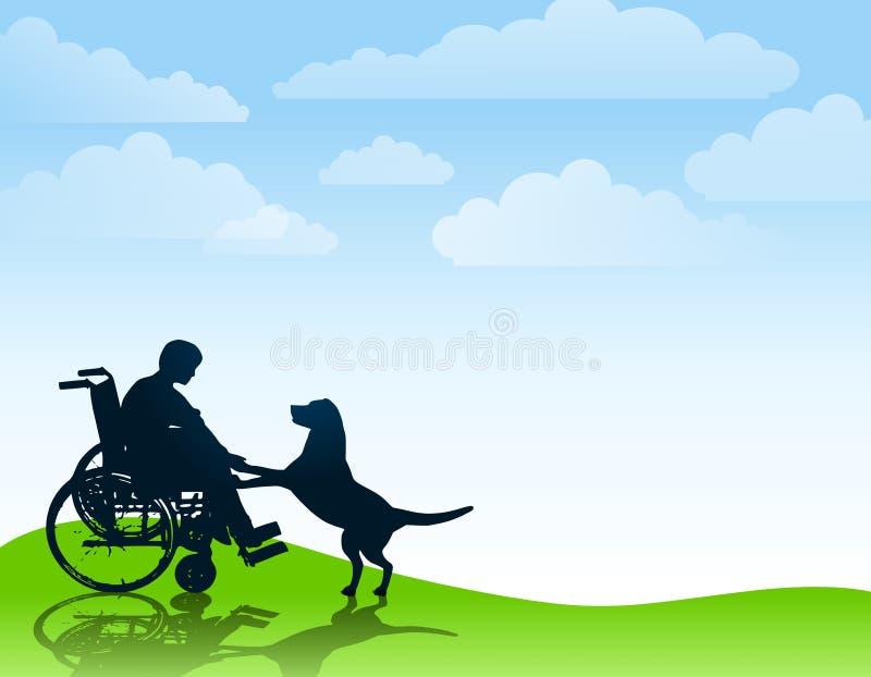Muchacho lisiado que juega con su perro libre illustration