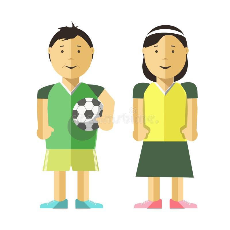 Muchacho, muchacha y balón de fútbol libre illustration