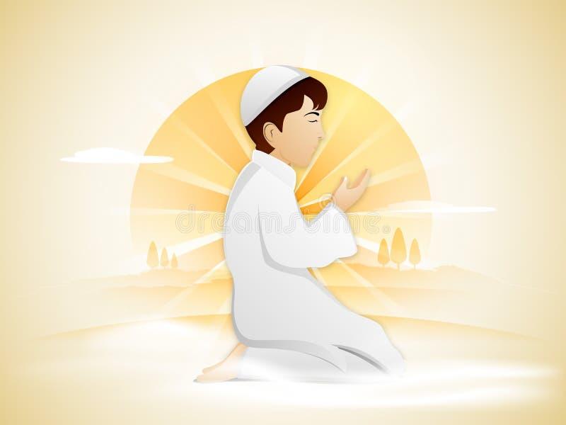 Muchacho musulmán de rogación para el mes santo, Ramadan Kareem stock de ilustración