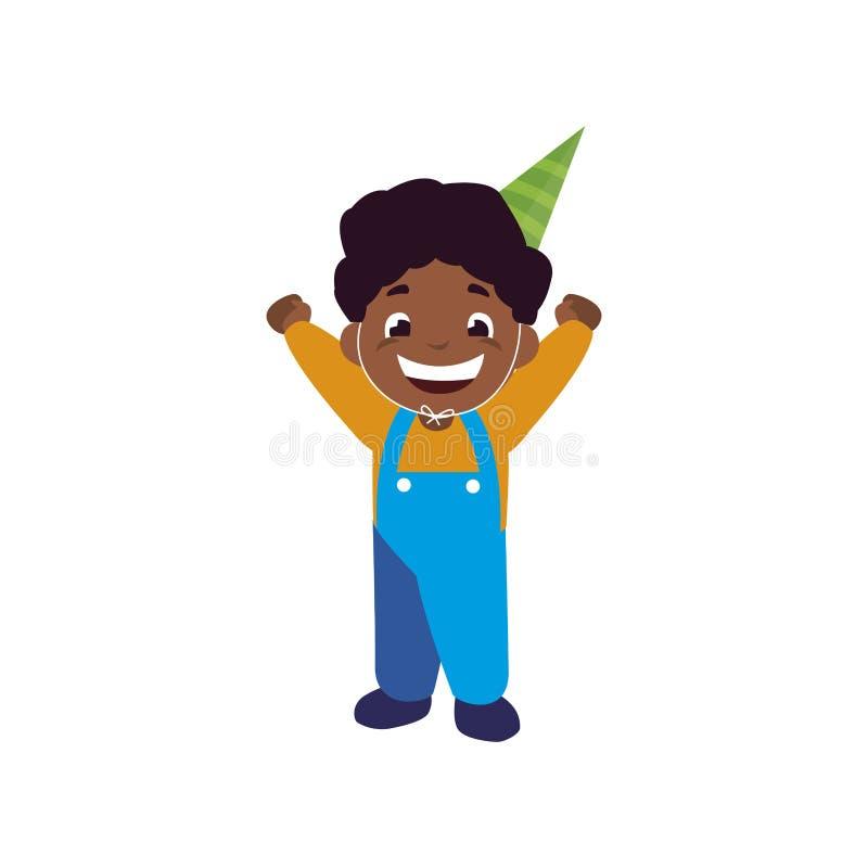 Muchacho negro feliz lindo con el sombrero del cumpleaños libre illustration