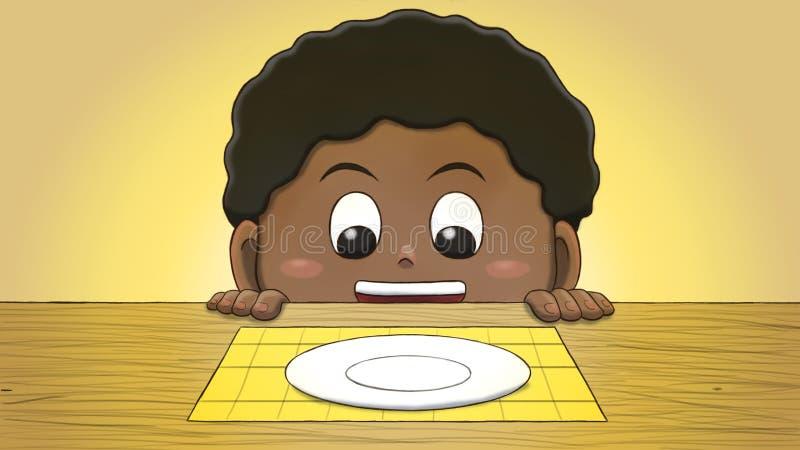 Muchacho negro que mira la placa vacía libre illustration