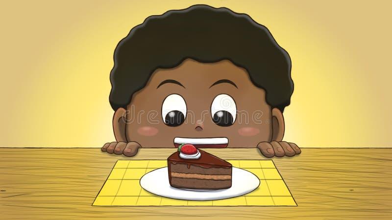Muchacho negro que mira la rebanada de la torta libre illustration
