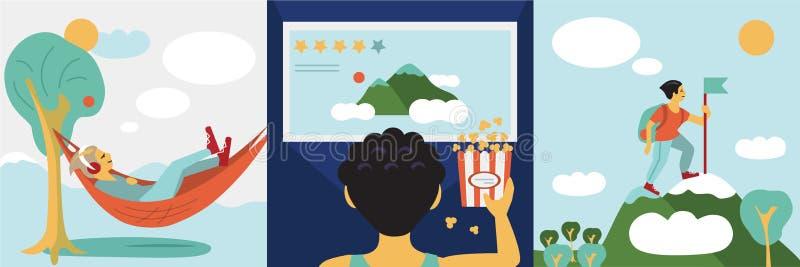 Muchacho, niño o hombre en hamaca sobre la naturaleza y sueños, duerme o estudia los deberes, ve una película en televisión y  ilustración del vector