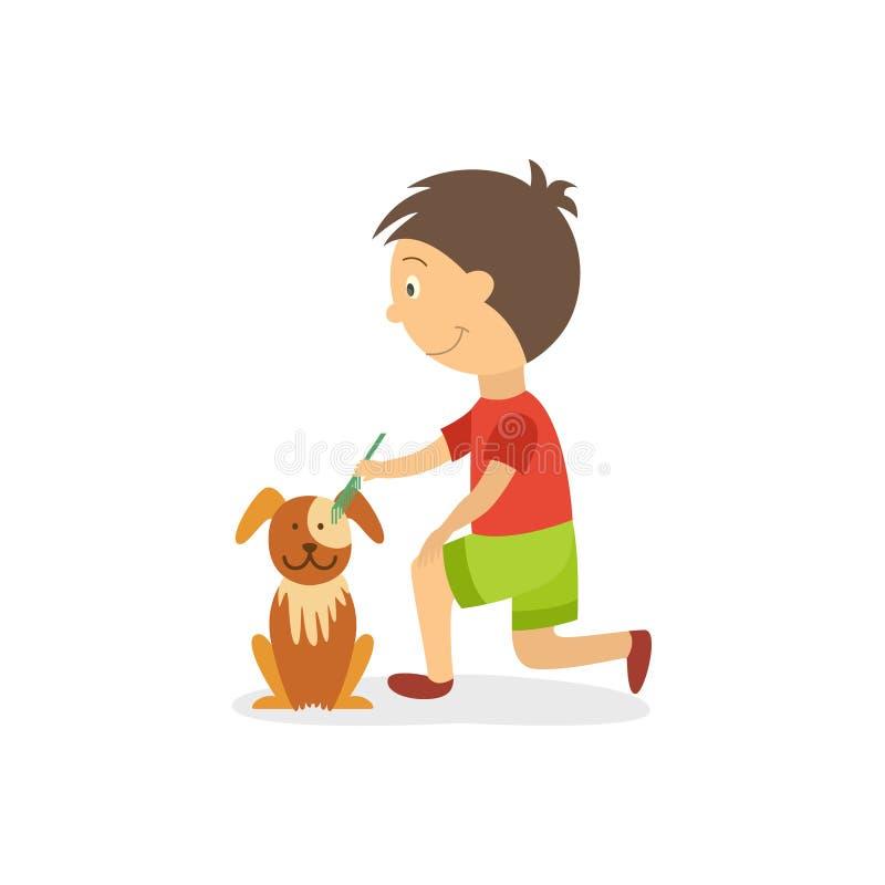 Muchacho plano de Vecotr que peina hacia fuera el perrito del perro ilustración del vector