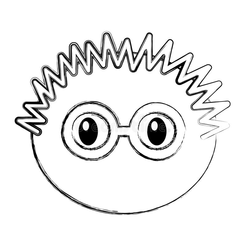 Muchacho principal con la expresión de los vidrios ilustración del vector