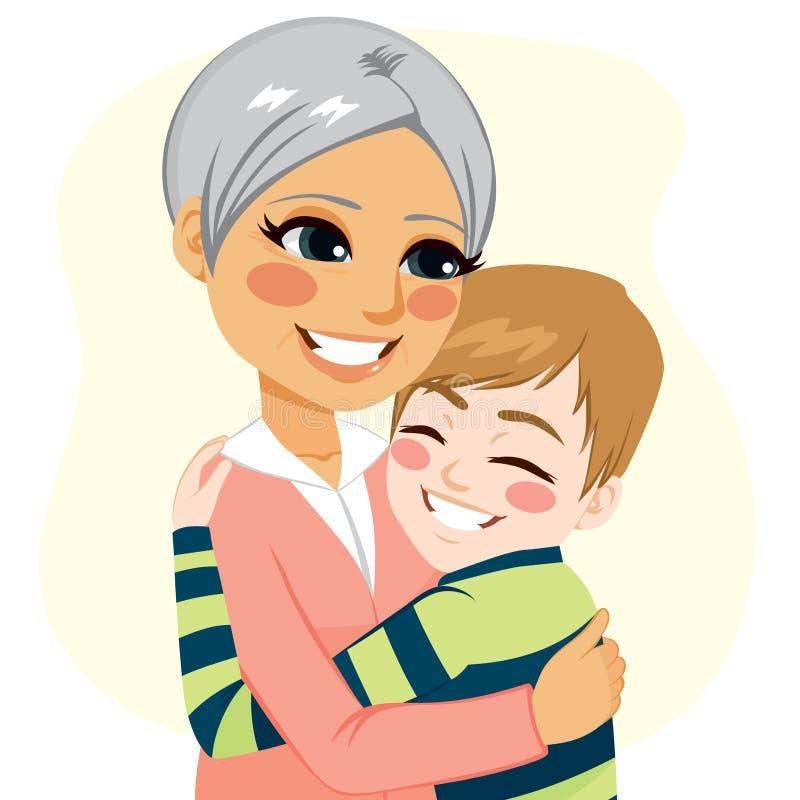 Muchacho que abraza a la abuela libre illustration