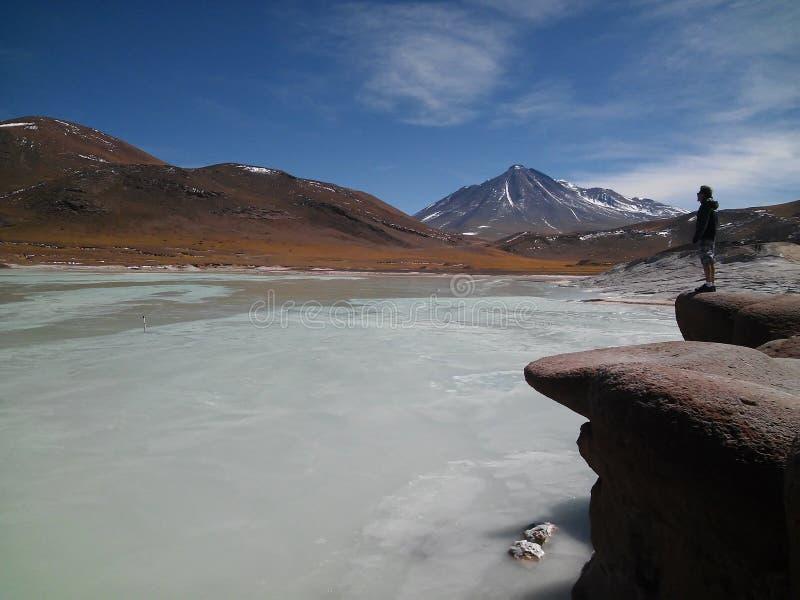 Muchacho que admira paisaje en el desierto de Atacama, Chile imagenes de archivo
