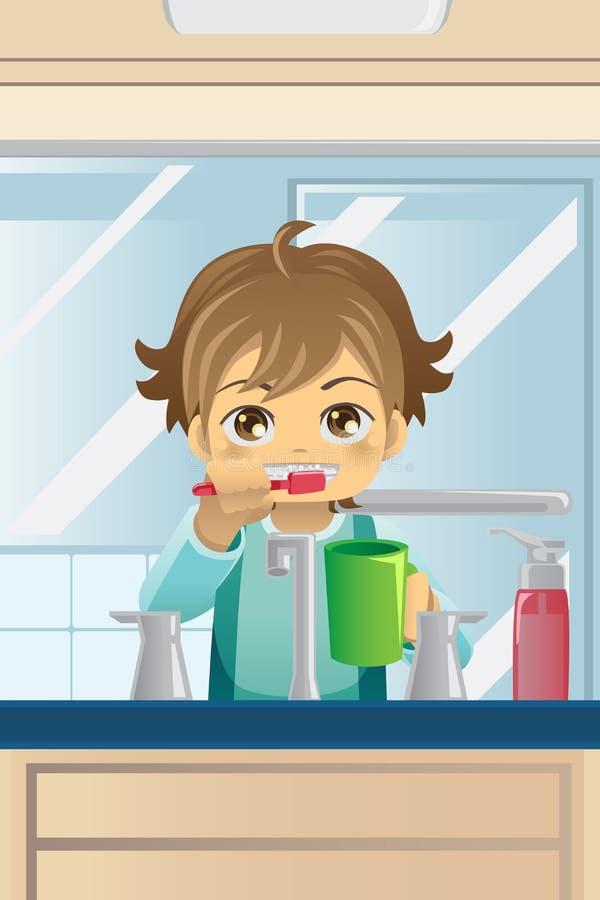 Muchacho que aplica sus dientes con brocha ilustración del vector