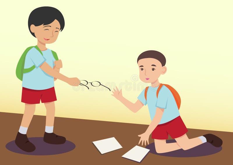 Muchacho que ayuda a otro niño stock de ilustración