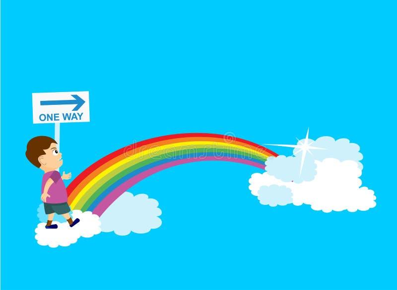 Muchacho que camina sobre el arco iris ilustración del vector