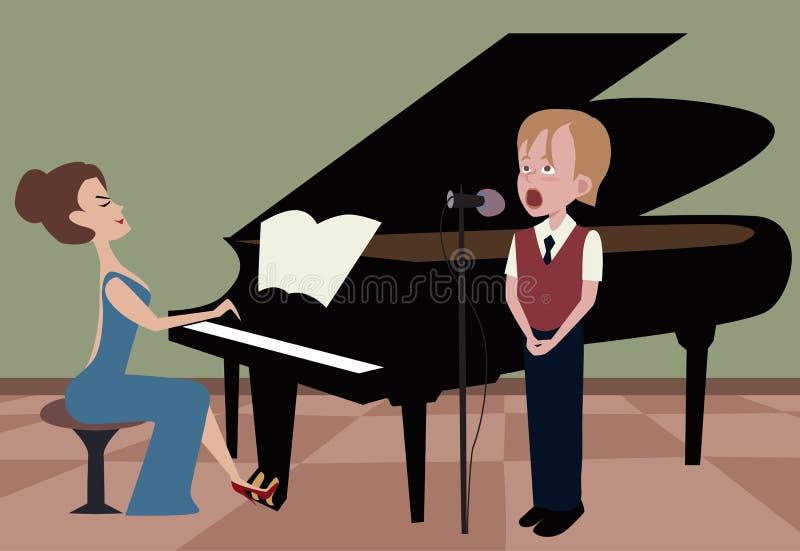 Muchacho que canta mientras que mujer que juega el piano stock de ilustración