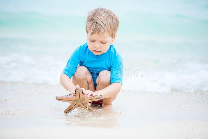 Muchacho que coge estrellas de mar y que las mira en agua de mar baja imagen de archivo