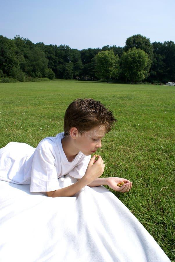Muchacho que come aceitunas. imagen de archivo libre de regalías