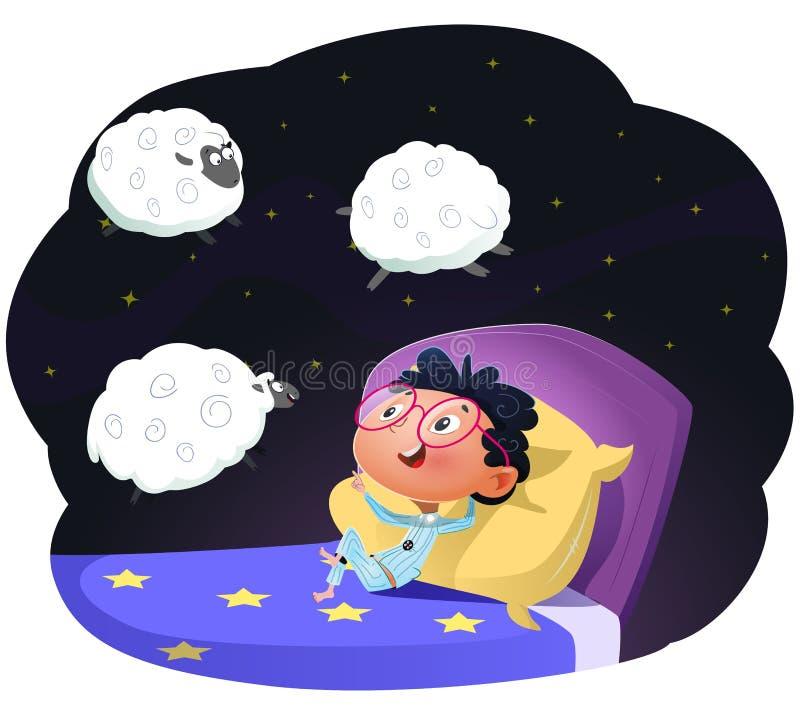 Muchacho que cuenta ovejas para caer dormido, llustration del vector stock de ilustración