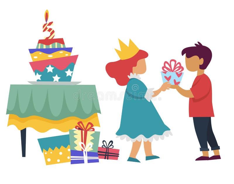 Muchacho que da el presente a la muchacha en fiesta y torta de cumpleaños del traje de la princesa libre illustration