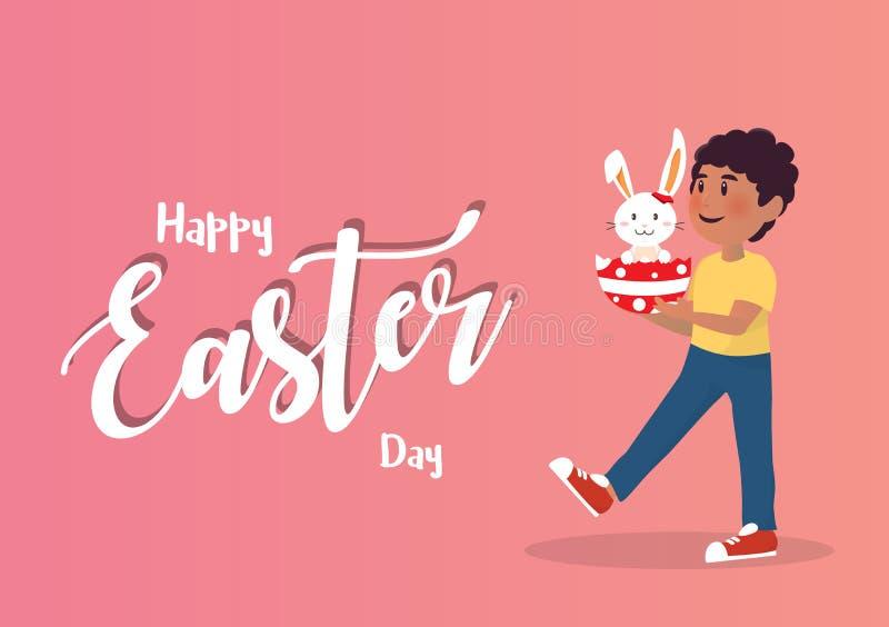Muchacho que detiene a Bunny Easter Egg libre illustration