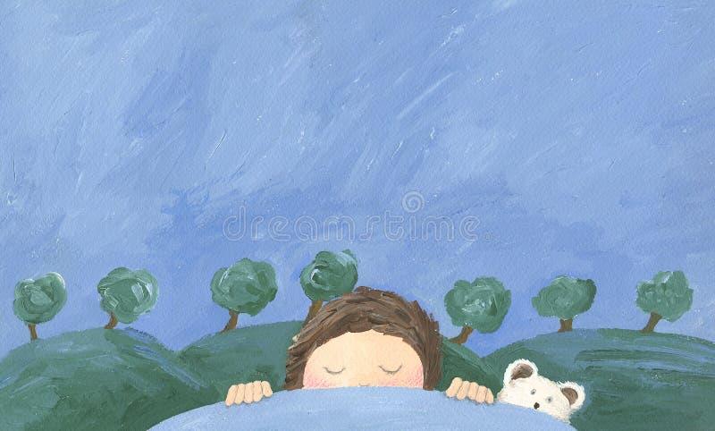 Muchacho que duerme y que soña stock de ilustración