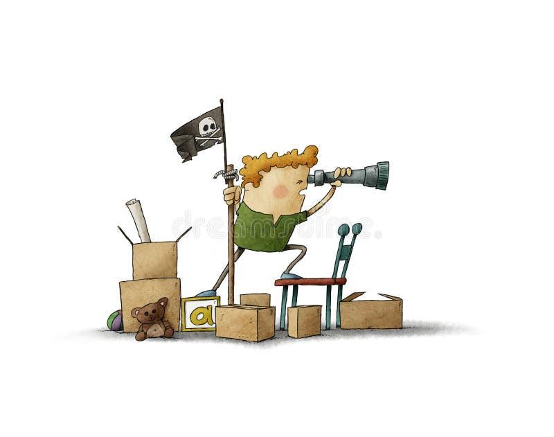 Muchacho que finge ser un pirata ilustración del vector