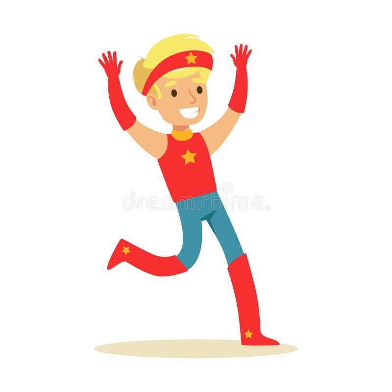Muchacho que finge tener superpoderes vestidos en traje rojo del super héroe con la venda con el carácter sonriente de la estrell ilustración del vector