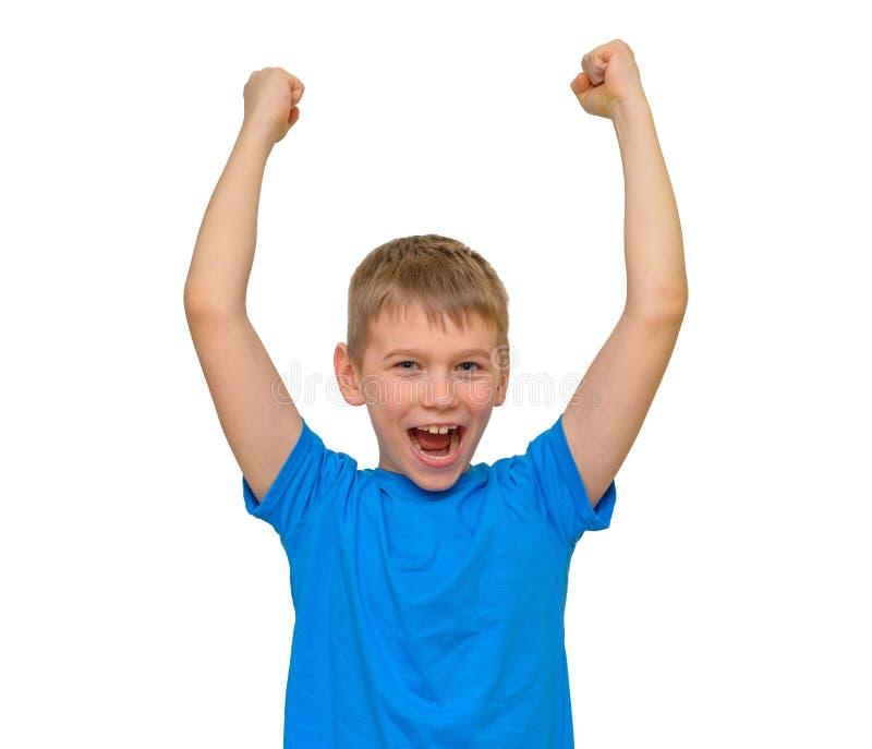 Muchacho que grita con sus brazos para arriba aislados en blanco imagenes de archivo