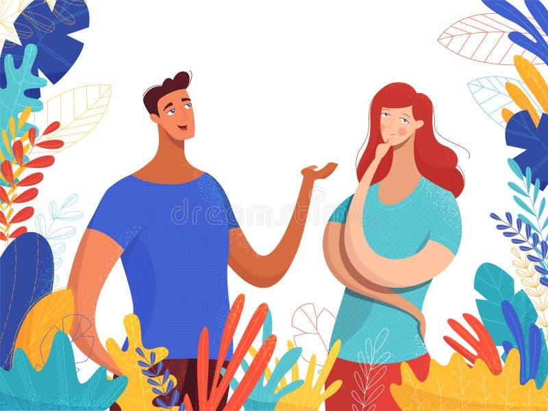 Muchacho que habla con el ejemplo plano del vector de la muchacha libre illustration