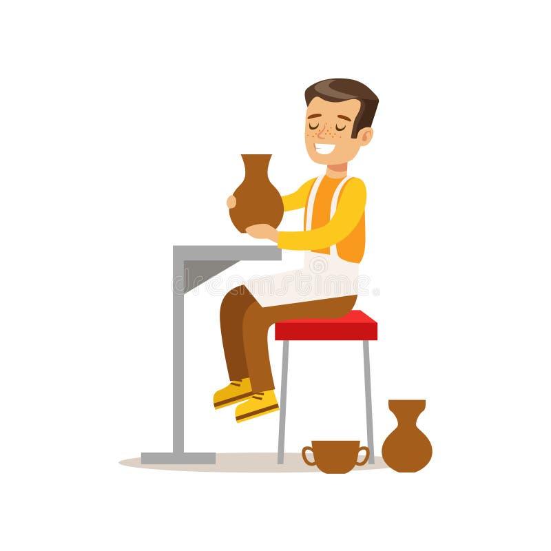 Muchacho que hace la cerámica, artes practicantes del niño creativo en Art Class, niños y el ejemplo temático de la creatividad libre illustration