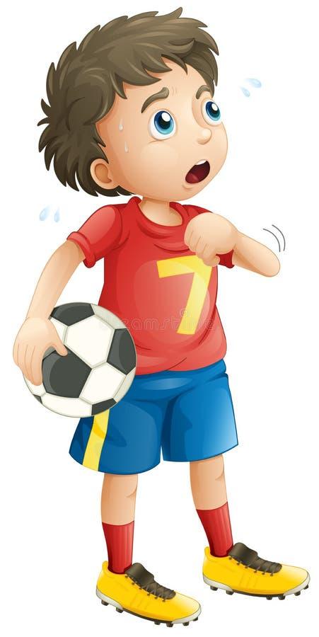 Muchacho que juega al fútbol del fútbol que parece cansado stock de ilustración
