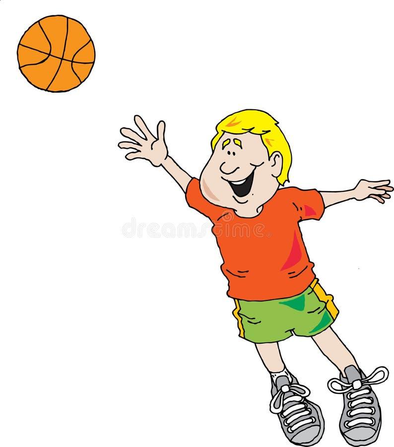 Muchacho que juega a baloncesto ilustración del vector