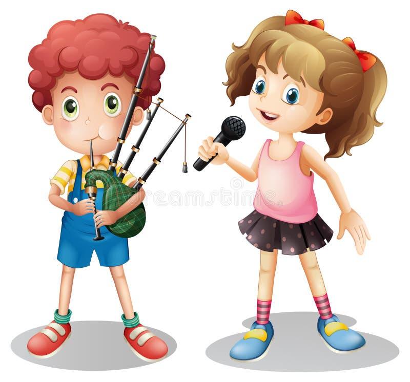 Muchacho que juega el canto de la gaita y de la muchacha ilustración del vector