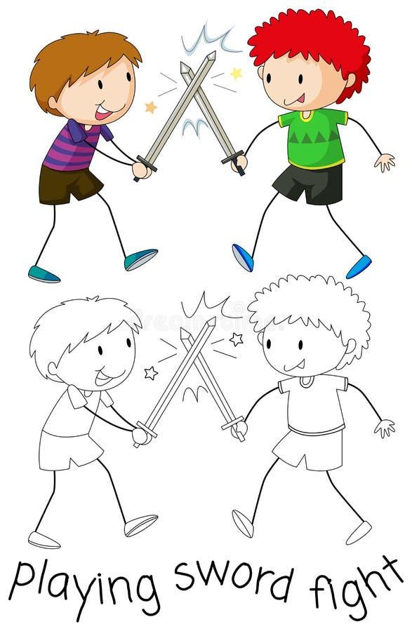 Muchacho que juega luchar de la espada libre illustration