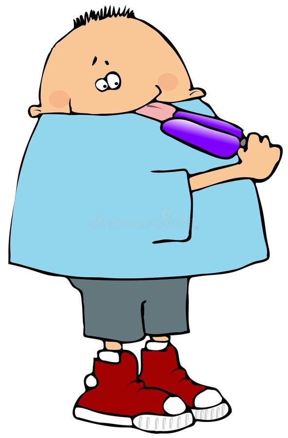 Muchacho que lame un Popsicle ilustración del vector