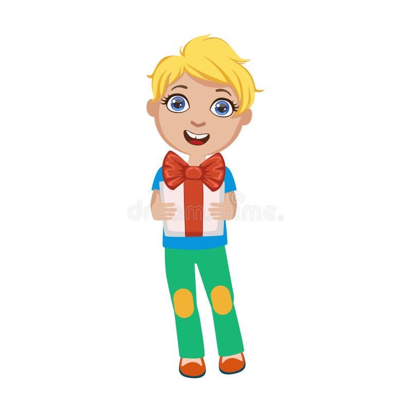 Muchacho que lleva a cabo el presente, parte de niños en el sistema de la fiesta de cumpleaños de personajes de dibujos animados  libre illustration