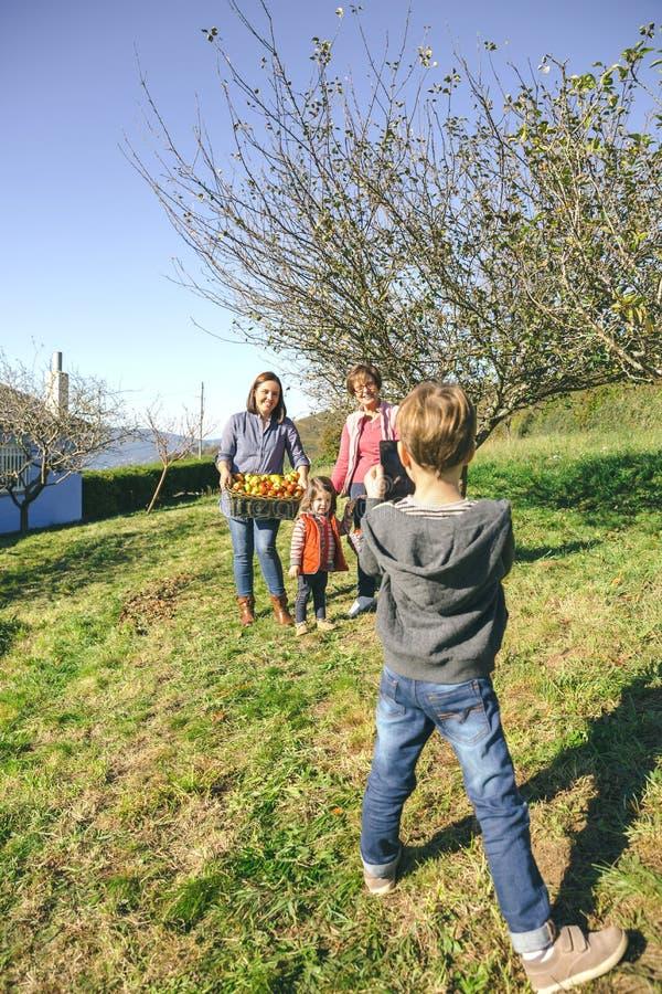 Muchacho que lleva la foto la familia con las manzanas en cesta imagenes de archivo