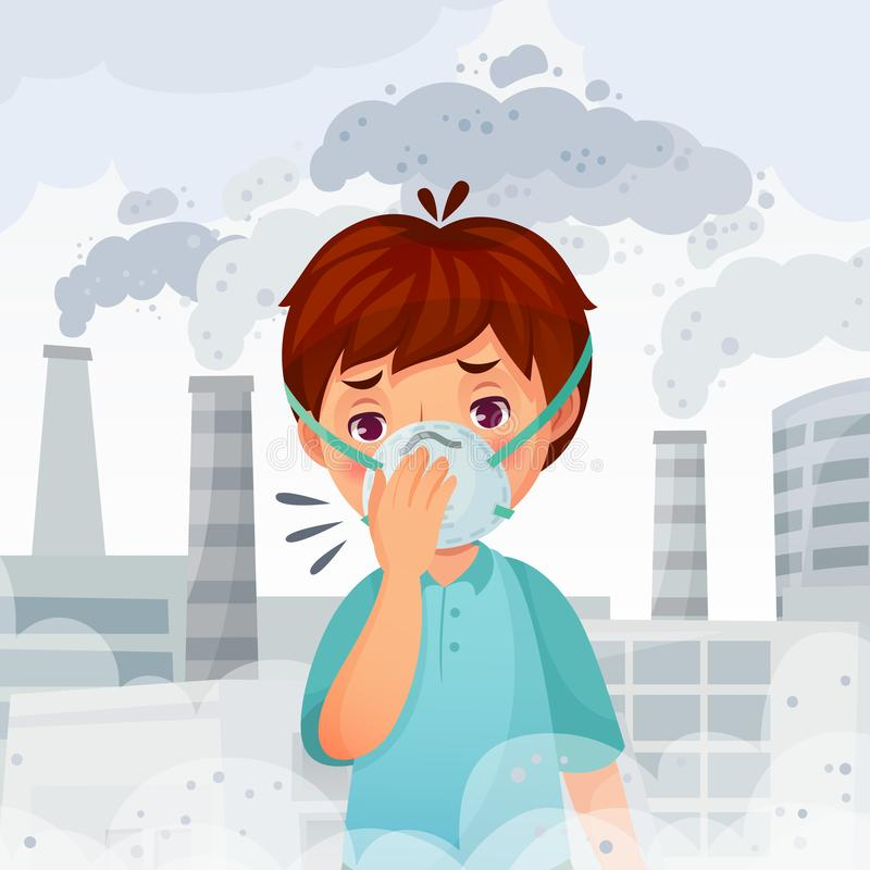 Muchacho que lleva la máscara N95 Polvo P.M. 2 contaminación atmosférica 5, protección de la respiración de los hombres jovenes y ilustración del vector