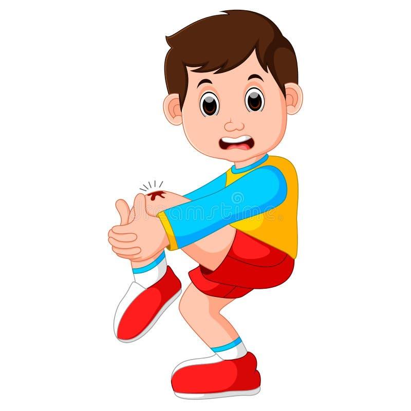 Muchacho que llora con un rasguño en su rodilla stock de ilustración