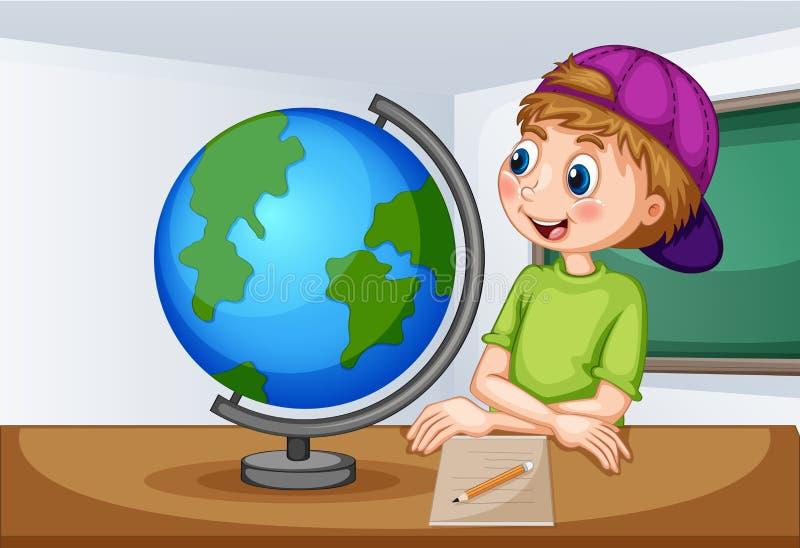 Muchacho que mira el globo en sala de clase ilustración del vector
