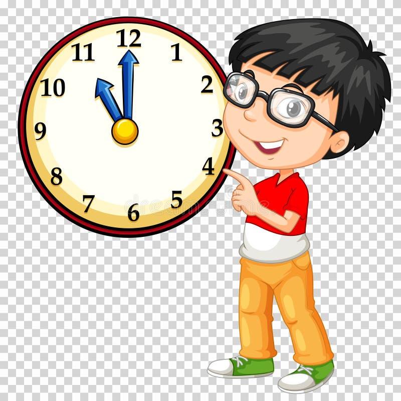 Muchacho que mira el reloj en fondo transparente ilustración del vector