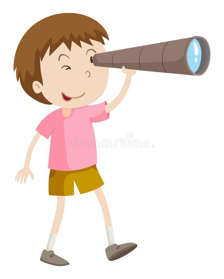 Muchacho que mira a través del telescopio libre illustration