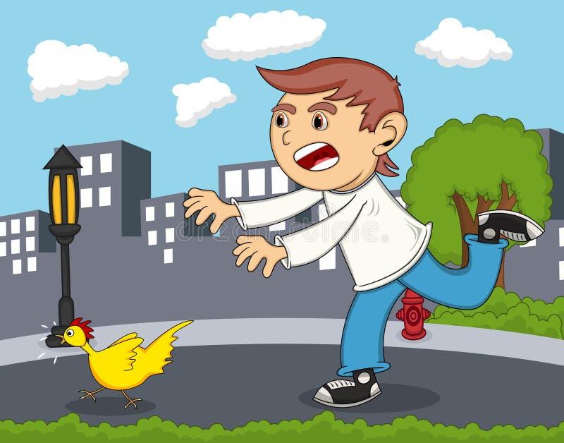 Muchacho que persigue la historieta del pollo stock de ilustración