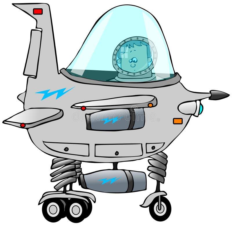 Muchacho que pilota un starship stock de ilustración