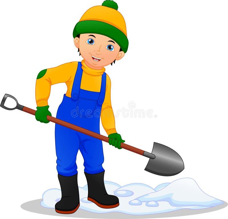 Muchacho que quita la nieve con la pala libre illustration